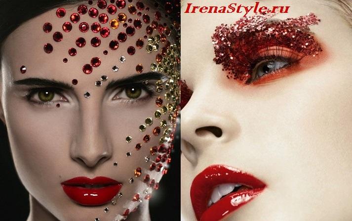 Вечерний макияж с красной помадой