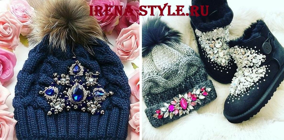 Модные меховые и вязаные шапки осень-зима 2017-2018 фото