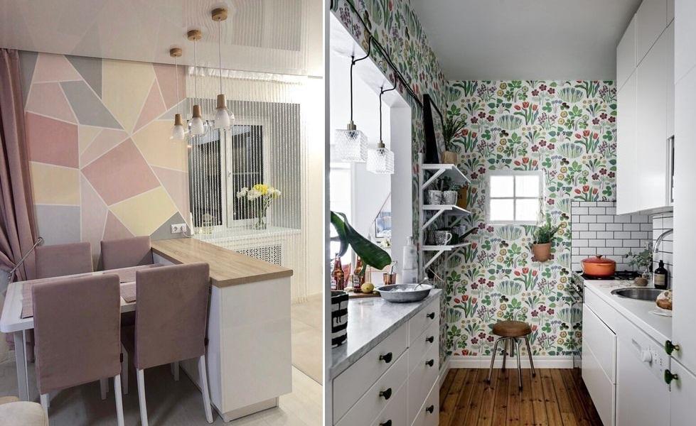 Какие обои поклеить в маленькой кухне: фото-идеи 2020-2021