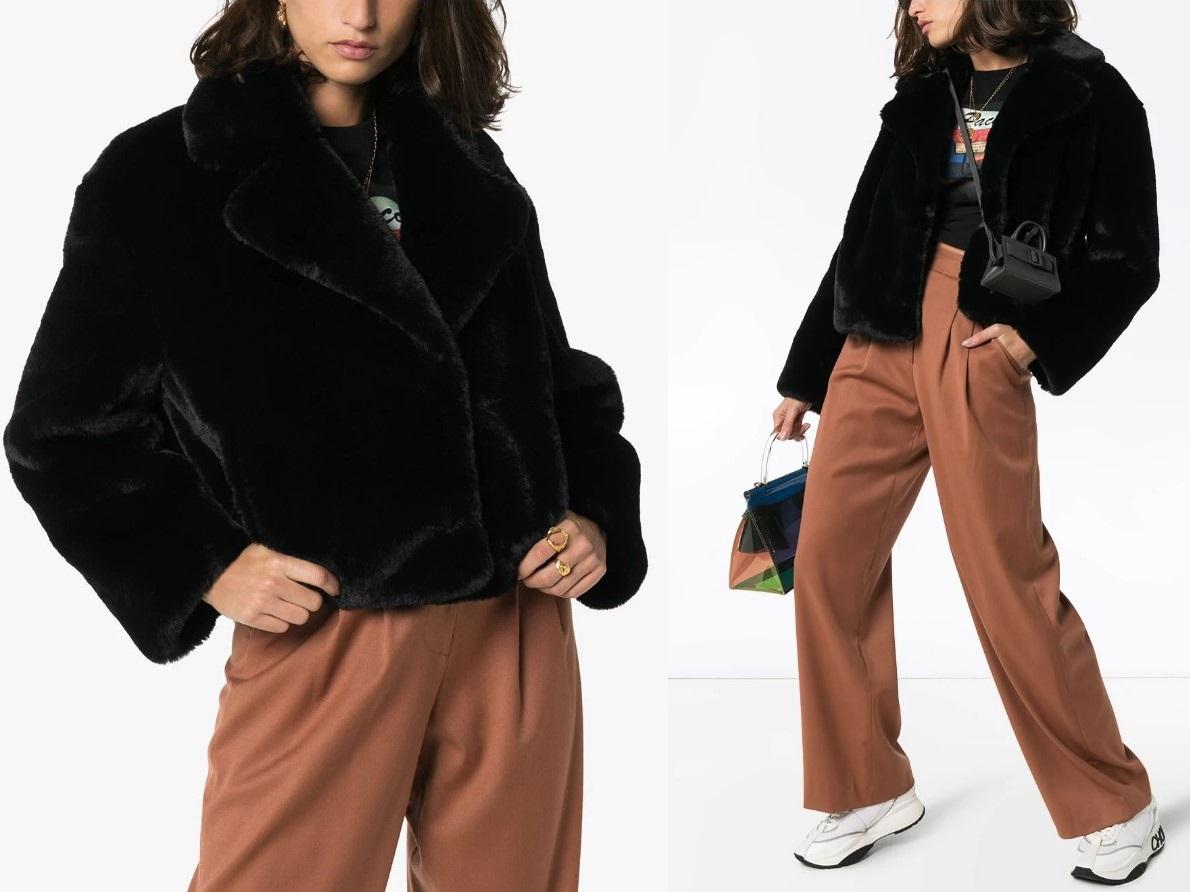 Модные образы с шубой из искусственного меха зима 2021