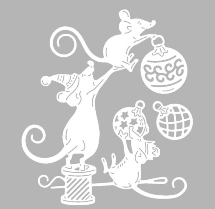 Трафареты крысы (мыши) на окно к Новому году 2020