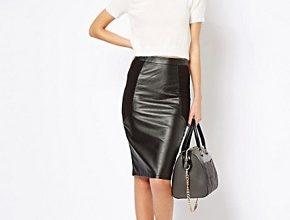 С чем сочетать кожаную юбку карандаш?